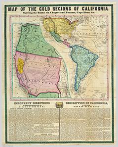 Zeitgenössische Karte der Goldfelder Kaliforniens von 1849.