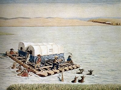 Joseph Goldsborogh Buff crosses a river with his prairie schooner on his way to California in 1849.