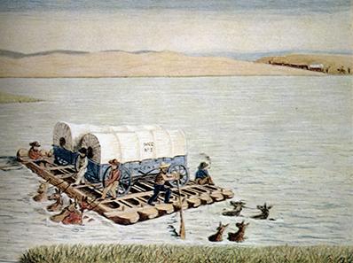 Joseph Goldsborogh Buff überquert um 1849 auf seinem Weg nach Kalifornien mit seinen Planwagen einen Fluss.