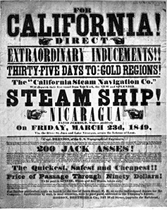 Werbeplakat für eine Schiffsreise von New York nach San Francisco via Nicaragua.