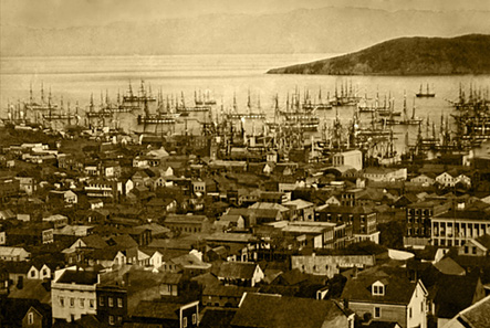 Trading vessels in the San Francisco port around 1850.