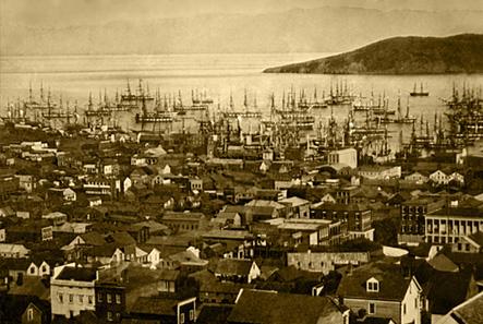 Handelsschiffe im Hafen von San Francisco um 1850.