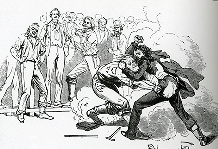 Quarrel amongst gold diggers. Illustration by Charles Nahl 1856.