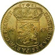 Netherlands / West Friesland, 14 guilders, gold (9.93 g), 1751