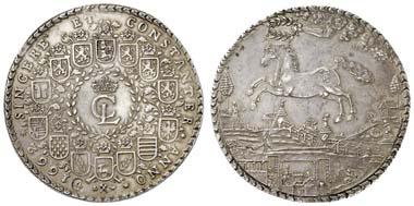 Los 223: BRAUNSCHWEIG-LÜNEBURG-CELLE, Christian Ludwig, 1648-65, Löser zu 4 Reichstalern, 1662, Clausthal, mit Wertpunze 4. Dav. 174, RR, 115.71 g, vz. Zuschlag: 7.200 Euro, Ausruf: 7.000 Euro.