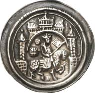 215: Fried Collection - Medieval Coin Art: Mühlhausen (Thuringia). Frederick I, 1152-1190. Bracteate. Probably unedited. Extremely fine. Estimate: 1,500 euros. Hammer price: 11,000 euros.