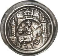 215: Sammlung Fried - Münzkunst des Mittelalters: Mühlhausen (Thüringen). Friedrich I., 1152-1190. Brakteat. Wahrscheinlich unediert. Vorzüglich. Schätzung: 1.500 Euro. Zuschlag: 11.000 Euro.