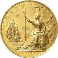 304: Adams Collection - peace medals: Great Britain. Charles II, 1660-1685. Gold medal n. y. (1667), unsigned by J. Roettiers on the Treaty of Breda. Eimer 251. Of great rarity. Very fine to extremely fine. Estimate: 6,000 euros. Hammer price: 24,000 euros.