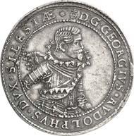 1061: Polonica Reconciliata: Schlesien. Liegnitz-Brieg. Georg Rudolf, 1621-1653. Doppelter Reichstaler 1622, Liegnitz. Dav. A7725. Von großer Seltenheit. Vorzüglich. Schätzung: 20.000 Euro. Zuschlag: 34.000 Euro.