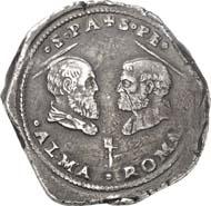1178: Münzen und Medaillen der Päpste: Clemens VII., 1523-1534. Ducato o. J. (1527), Rom. Muntoni 21. Von größter Seltenheit und großer historischer Bedeutung. Sehr schön. Schätzung: 10.000 Euro. Zuschlag: 26.000 Euro.