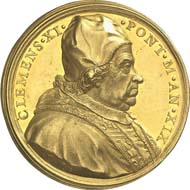1770: Papal coins and medals: Clement XI, 1700-1721. Gold medal 1719 by E. Hamerani on the Asia mission. Bartolotti 719. Of great rarity. Extremely fine to brilliant uncirculated. Estimate: 4,000 euros. Hammer price: 21,000 euros.