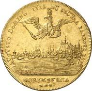 3907: Altdeutschland. Nürnberg. Goldabschlag zu 9 Dukaten von den Stempeln des Reichstalers 1721. Kellner - (zu 269). Von großer Seltenheit. Vorzüglich. Schätzung: 8.000 Euro. Zuschlag: 60.000 Euro.