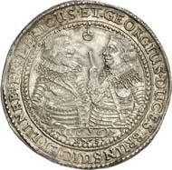 589: Altdeutschland. Braunschweig. August der Ältere, 1633-1636, mit seinen Brüdern Friedrich von Celle und Georg von Calenberg. Reichstaler 1636, Zellerfeld. Dav. 6484. Äußerst selten. Vorzüglich. Schätzung: 4.000 Euro. Zuschlag: 22.000 Euro.