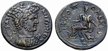 Hierapolis. Caracalla, 197-217. Rv. Kybele zwischen zwei Löwen n. l. sitzend. Münzen und Medaillen 16 (2005), 517.