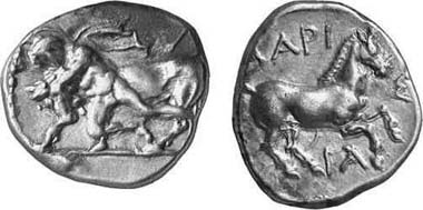 Larisa. Drachm, 440-400. Obv. bullfighter, coat flapping, subdues the bull by grabbing it by the horns. Gorny & Mosch 117 (2002), 197.
