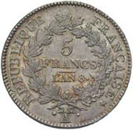 France, Napoleon, First Consul of the French government 1799-1804, 5 francs, silver (25.0 g), Paris, year 8 (= 1799)