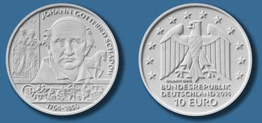 Die neue Münze zu Ehren des Bildhauers Johann Gottfried Schadow. © Bundesamt für zentrale Dienste und offene Vermögensfragen (BADV).