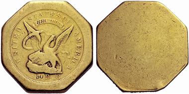 Moffat & Company. Achteckiges 50 Dollar Stück von 1851. Aus Auktion Hess-Divo 323 (2013), 887.