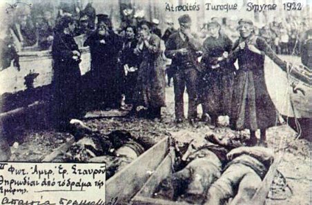 Greek refugees mourn the victims of the Catastrophe of Smyrna. Source: Wikipedia.
