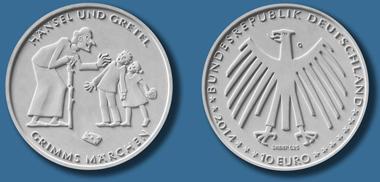 Die neue Münze zu Hänsel und Gretel. © Bundesamt für zentrale Dienste und offene Vermögensfragen (BADV).