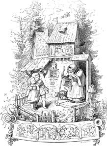 Hänsel und Gretel vor dem Hexenhaus in einer Darstellung von A. L. Richter (1803-1884). Quelle: Wikipedia.
