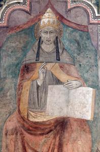 Hauptpanel eines Triptychons mit dem Heiligen Petrus Coelestinus (Papst Coelestinus V.) und Mönchen. Foto: Marie-Lan Nguyen / Wikipedia.