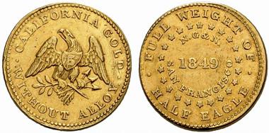 Norris, Grieg & Norris. Private Prägung in Gold 1849 im Gewicht von einem