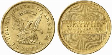 Staatliches Goldamt der Vereinigten Staaten von Amerika. 20 $ 1853. Aus Auktion Künker 109 (2006), 1400.
