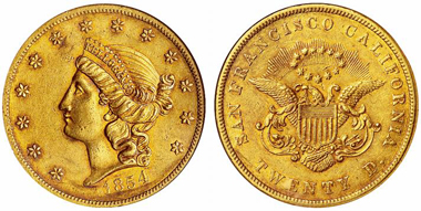 Kellogg & Company. 20 dollar piece 1854. From auction sale Hess-Divo 309 (2008), 707.
