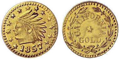 Private Prägung eines 1/2 Dollar 1857. Aus Auktion Hess-Divo 323 (2013), 891.
