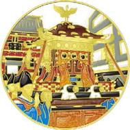 Cloisonné Silver Medallion 'Kanda Festival' / silver / 60mm / ca. 160g / Mintage: 500.