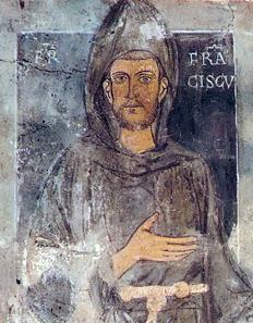 Oberer Ausschnitt des ältesten Portraits des Heiligen Franziskus von Assisi, ein Wandgemälde aus dem Kloster Sacro Speco in Subiaco.