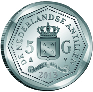 Curaçao and Sint Maarten / 5 Guilders / 925 silver / 11.9g / 29mm / Mintage: 750.