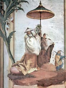 Chinoiserie: Landschaft mit Mandarinenbaum. Vicenza. Fresko von Giovanni Domenico Tiepolo 1757. Quelle: Wikipedia / The Yorck Project.