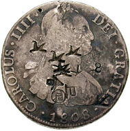 Spain. Real de a ocho from 1808 with Chinese counter-stamps. © MoneyMuseum, Zurich.