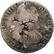 Spanien. Real de a ocho von 1808 mit chinesischen Gegenstempeln. © MoneyMuseum, Zürich.