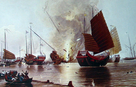 The British ship HMS Nemesis destroys Chinese junks at the beginning of the First Opium War (1839-1842). Painting by E. Duncan, 1843. Source: Wikipedia.