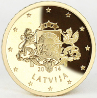 Four denominations of Latvia's new euro coins: 2 euros, 1 euro, 50 cents, 5 cents. © Staatliche Münze Baden-Württemberg.