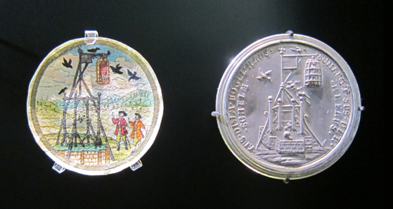 Caricature medal on the execution of 'Jud Süß' (1698-1738), 1738. Photograph: KW.