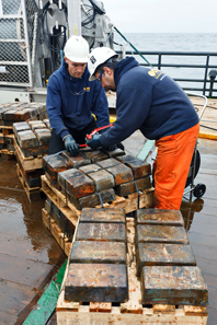 The Odyssey crew inspects the silver bars as they are recovered from the SS Gairsoppa site and unloaded on deck of the Seabed Worker. Photo: Odyssey Marine Exploration, Inc., www.odysseymarine.com