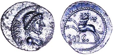 Silberne Löwenmünze des Amminus, geprägt in Sego (Folkestone?) um etwa 30 bis 40 n. Chr., gefunden in Staple, Kent. Foto: Chris Rudd.