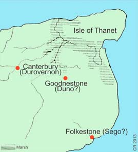 Amminus minted at Duno and Sego. His command of Kent, with sea on three sides, probably gave him control of cross-channel trade. Did the prince become a pirate? Photo: Chris Rudd.