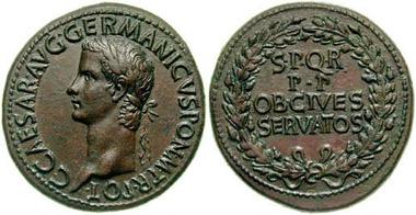 Sesterz des Caligula, geprägt in Rom, 39-40 n. Chr., also etwa zu der Zeit, als Amminus sich dem Kaiser in Mainz ergab. Foto: Classical Numismatic Group.
