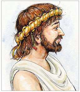 Imagined portrait of Amminus who ruled in Kent until banished by his father, Cunobelinus. © Jane Bottomley.