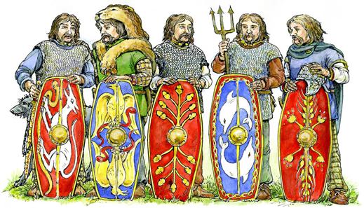 Fünf mögliche Söhne des Cunobelinus, die Münzen prägten. Amminus könnte der zweitälteste gewesen sein: Agr, Caratacus, Amminus, Solidu, Dubn(Togo). Quelle: Jane Bottomley.