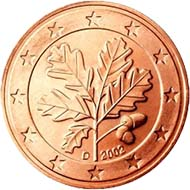 An oak branch as the motive of our 1, 2 and 5 Cent coins.