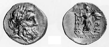 Thessalian League. Victoriatus, 2nd-1st cent. B. C. Head of bearded Zeus with oak crown r. Rev. Athena Itonia advancing r. 6.04 g. SNG Oxford 3800. From auction sale MAG 88 (1999), 162.