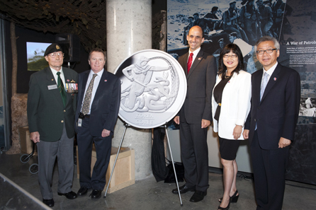 From left to right: Bill Black, President of the Korea Veterans Association, Royal Canadian Mint President and CEO Ian E. Bennett, the Honourable Steven Blaney, Minister of Veterans Affairs, Senator Yonah Martin, and the Republic of Korea's Ambassador to Canada, Cho Hee-yong unveiled the new collector coin at the Canadian War Museum in Ottawa, Ontario.