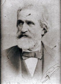 Photograph of Giuseppe Verdi with autograph signature. Source: Collezione Frontini / Wikipedia.