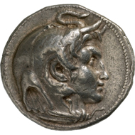 Ptolemy I, Satrap of Egypt (323-318 BC). Tetradrachm, Alexandria, around 320 BC. Head of Alexander the Great with royal band and Ammon's horn, elephant hood upon the head, and under the chin, the knotted aegis. Rev. Zeus enthroned, facing left, eagle upon the outstretched right hand. © MoneyMuseum, Zurich.